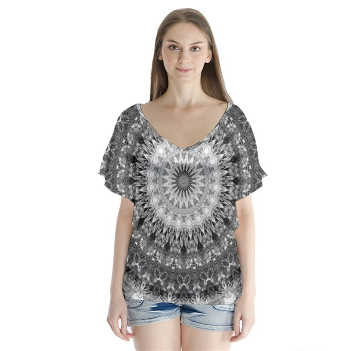 Feeling Softly Black White Mandala Flutter Sleeve Top