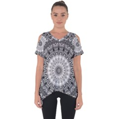 Feeling Softly Black White Mandala Cut Out Side Drop Tee