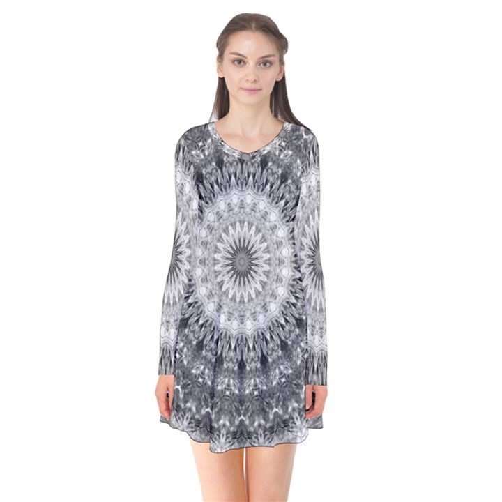 Feeling Softly Black White Mandala Flare Dress
