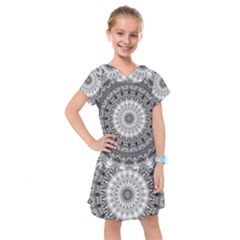 Feeling Softly Black White Mandala Kids  Drop Waist Dress