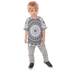 Feeling Softly Black White Mandala Kids Raglan Tee