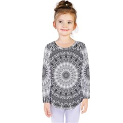 Feeling Softly Black White Mandala Kids  Long Sleeve Tee