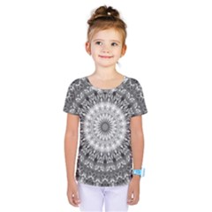 Feeling Softly Black White Mandala Kids  One Piece Tee