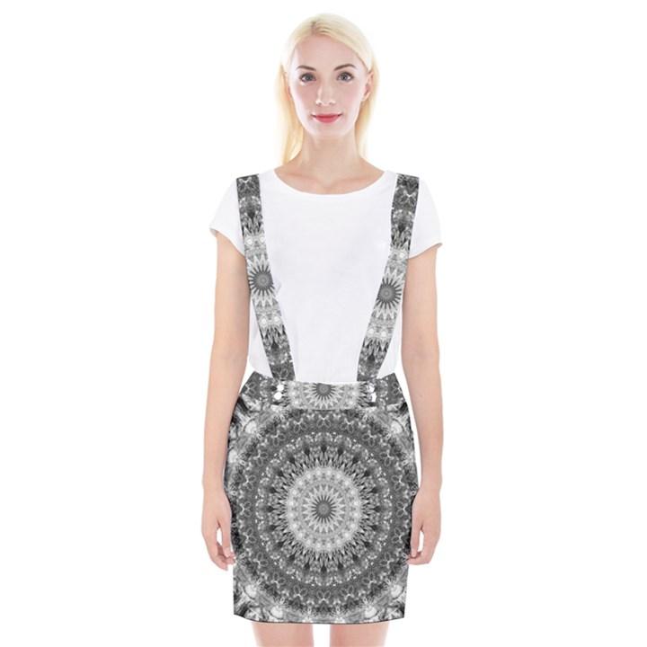 Feeling Softly Black White Mandala Braces Suspender Skirt