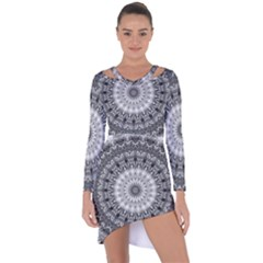 Feeling Softly Black White Mandala Asymmetric Cut Out Shift Dress