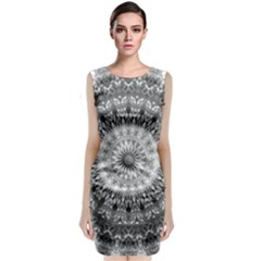 Feeling Softly Black White Mandala Sleeveless Velvet Midi Dress