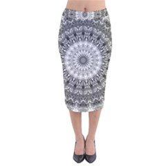 Feeling Softly Black White Mandala Velvet Midi Pencil Skirt
