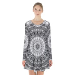 Feeling Softly Black White Mandala Long Sleeve Velvet V Neck Dress
