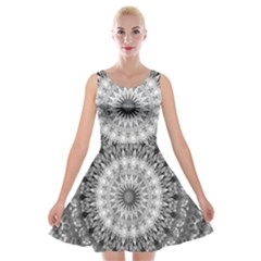 Feeling Softly Black White Mandala Velvet Skater Dress