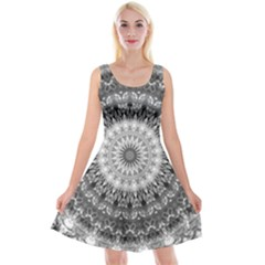 Feeling Softly Black White Mandala Reversible Velvet Sleeveless Dress