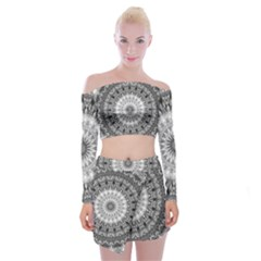 Feeling Softly Black White Mandala Off Shoulder Top With Skirt Set
