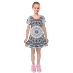 Feeling Softly Black White Mandala Kids  Short Sleeve Velvet Dress