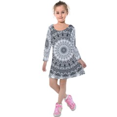 Feeling Softly Black White Mandala Kids  Long Sleeve Velvet Dress