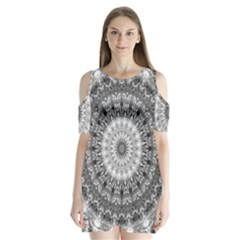 Feeling Softly Black White Mandala Shoulder Cutout Velvet  One Piece