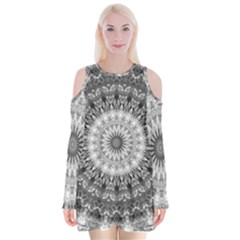 Feeling Softly Black White Mandala Velvet Long Sleeve Shoulder Cutout Dress