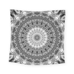 Feeling Softly Black White Mandala Square Tapestry (small)