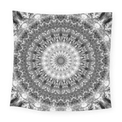 Feeling Softly Black White Mandala Square Tapestry (large)