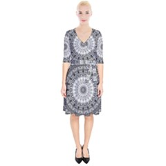 Feeling Softly Black White Mandala Wrap Up Cocktail Dress