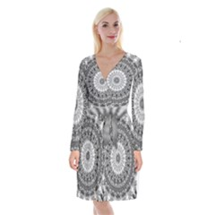 Feeling Softly Black White Mandala Long Sleeve Velvet Front Wrap Dress