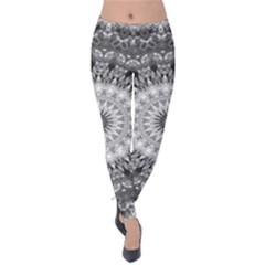 Feeling Softly Black White Mandala Velvet Leggings