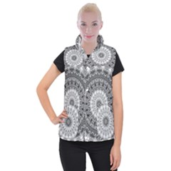 Feeling Softly Black White Mandala Women s Button Up Puffer Vest