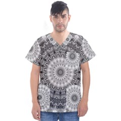 Feeling Softly Black White Mandala Men s V Neck Scrub Top