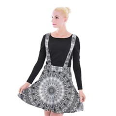 Feeling Softly Black White Mandala Suspender Skater Skirt