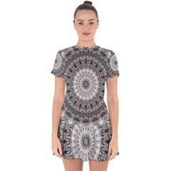 Feeling Softly Black White Mandala Drop Hem Mini Chiffon Dress
