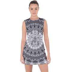 Feeling Softly Black White Mandala Lace Up Front Bodycon Dress