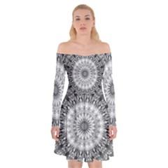 Feeling Softly Black White Mandala Off Shoulder Skater Dress