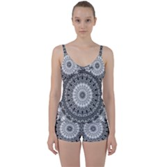 Feeling Softly Black White Mandala Tie Front Two Piece Tankini