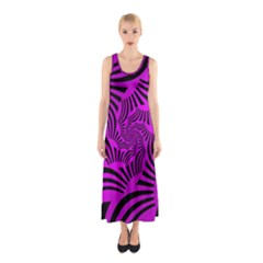 Black Spral Stripes Pink Sleeveless Maxi Dress