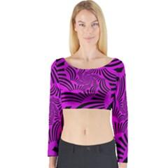 Black Spral Stripes Pink Long Sleeve Crop Top