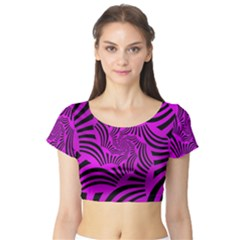 Black Spral Stripes Pink Short Sleeve Crop Top (tight Fit)