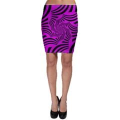 Black Spral Stripes Pink Bodycon Skirt