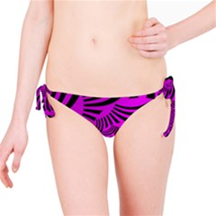 Black Spral Stripes Pink Bikini Bottom