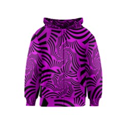 Black Spral Stripes Pink Kids  Zipper Hoodie