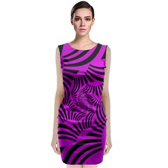 Black Spral Stripes Pink Classic Sleeveless Midi Dress