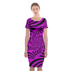 Black Spral Stripes Pink Classic Short Sleeve Midi Dress