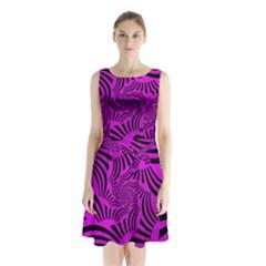 Black Spral Stripes Pink Sleeveless Waist Tie Chiffon Dress