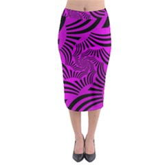 Black Spral Stripes Pink Midi Pencil Skirt