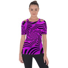 Black Spral Stripes Pink Short Sleeve Top