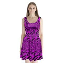 Black Spral Stripes Pink Split Back Mini Dress