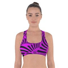 Black Spral Stripes Pink Cross Back Sports Bra