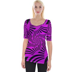 Black Spral Stripes Pink Wide Neckline Tee