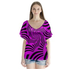 Black Spral Stripes Pink Flutter Sleeve Top