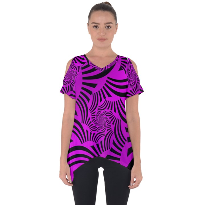 Black Spral Stripes Pink Cut Out Side Drop Tee