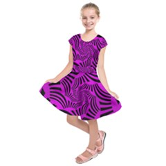Black Spral Stripes Pink Kids  Short Sleeve Dress