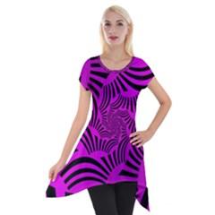 Black Spral Stripes Pink Short Sleeve Side Drop Tunic
