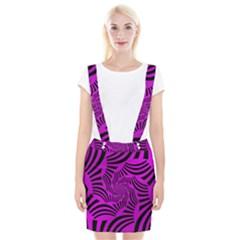 Black Spral Stripes Pink Braces Suspender Skirt